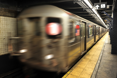 New York subway, The underground metro train system in Manhattan New York, USA.